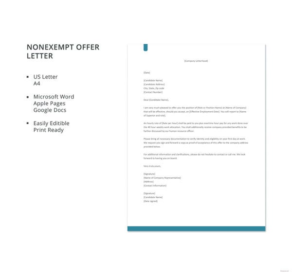 non exempt offer letter template