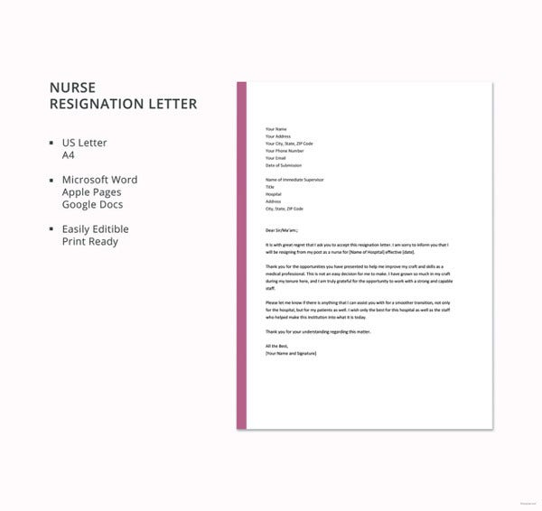 Nursing resignation letter template 7 free word excel pdf nurse resignation letter template free download expocarfo Image collections