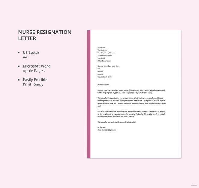 Nursing Resignation Letter