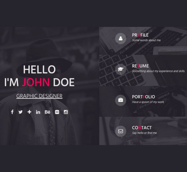 one page responsive resume template