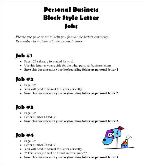 personal business block style letter job