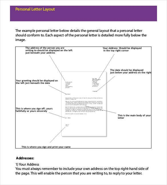 personal letter handwritten layout format download