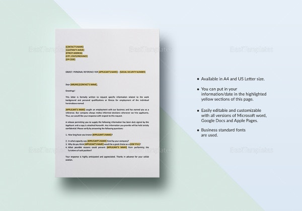 Free Reference Letter Templates – 32+ Free Word, PDF Documents Download!