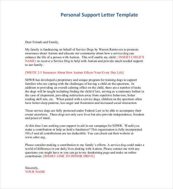 personal support letter template