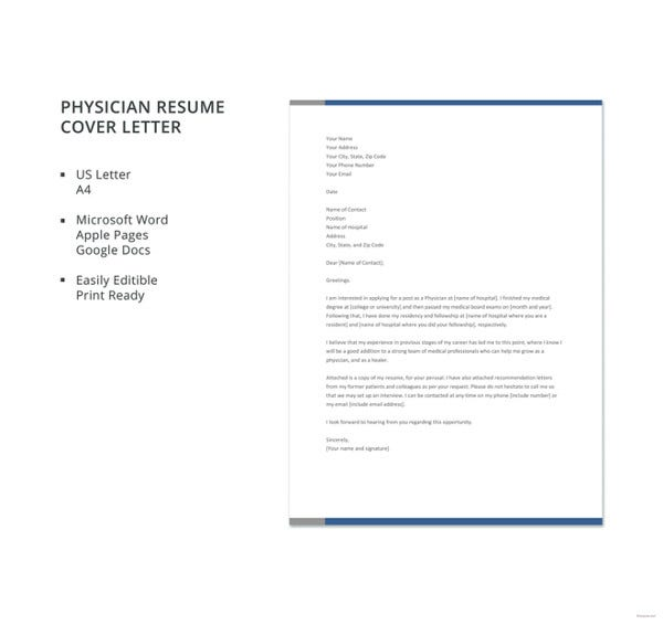 physician resume cover letter template - Microsoft Word Cover Letter Template