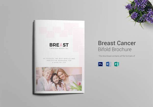 printable breast cancer bi fold brochure template