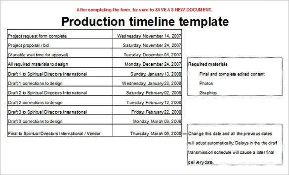 production timeline template sample