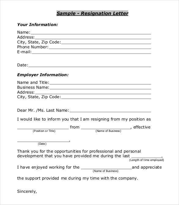 professional resignation letter download