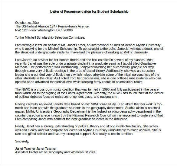 Letters Of Recommendation For Scholarship   Free Sample Example