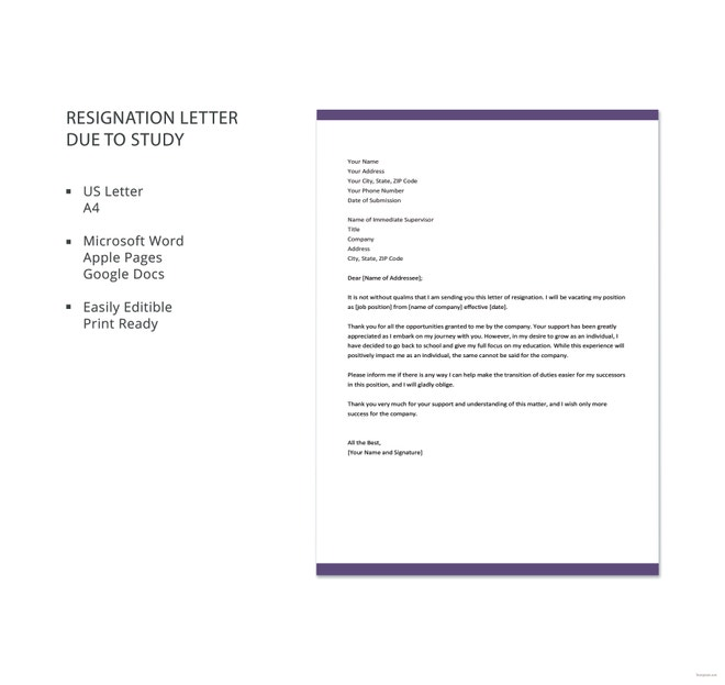 Teacher Resignation Letter Template  Free Word Excel Pdf