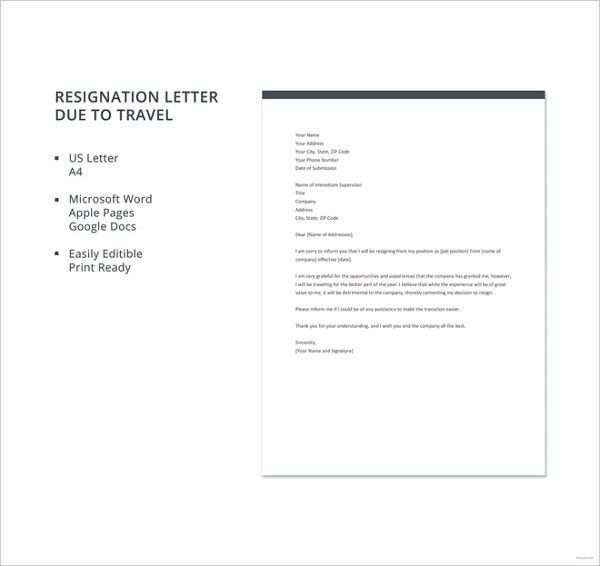 resignation letter due to travel template