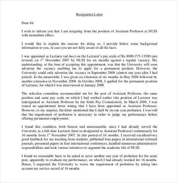 resignation letter from the post of assistant professor