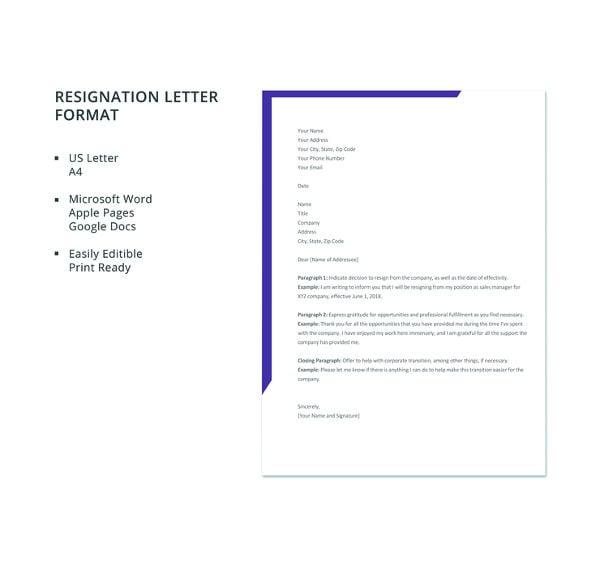 resignation letter format2