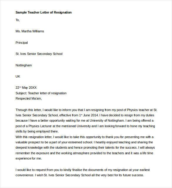 teacher resignation letter template 17 free sample