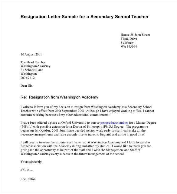 example of resignation letter for teachers 14 resignation letter templates pdf doc free 21581 | Resignation Letter Sample for a Secondary School Teacher