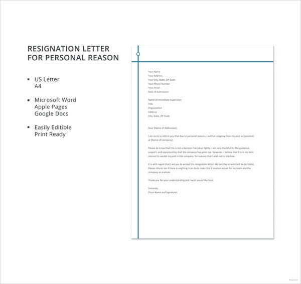 Resignation Letter For Personal Reason In Google Docs  Personal Letter Templates