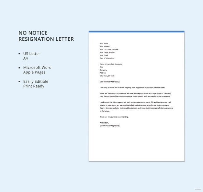 resignation letter with no notice