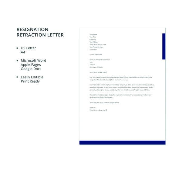 resignation retraction letter template