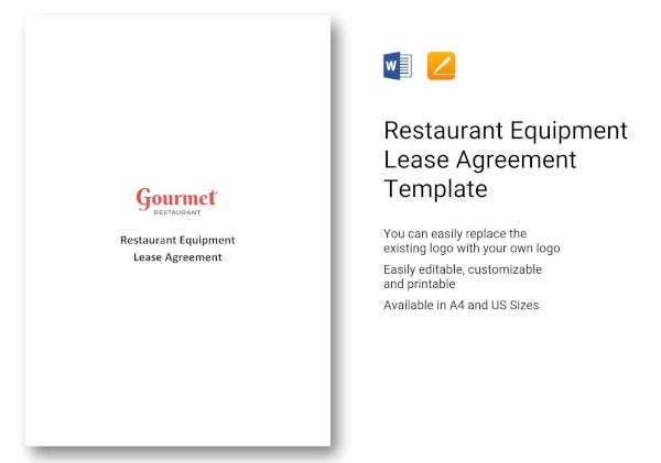 restaurant equipment lease agreement template