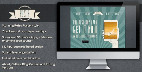 retro onepage creative poster psd template