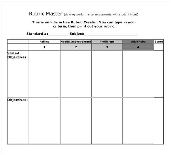 Rubric Template   Free Word Excel Pdf Format  Free  Premium