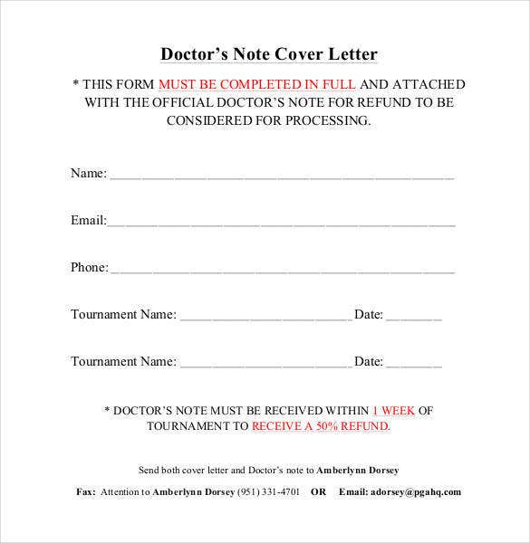 sample doctors note cover letter