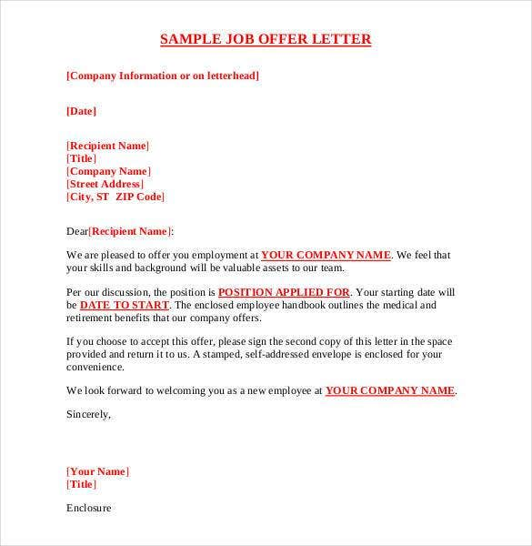 sample job offer letter pdf format