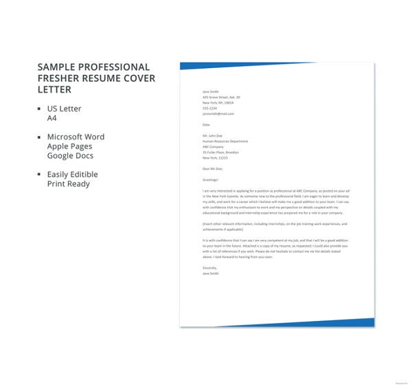 sample-professional-fresher-resume-cover-letter-template