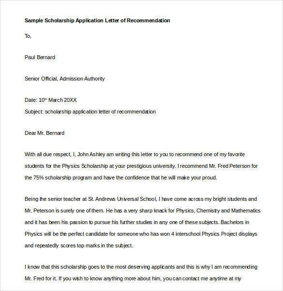 Examples Of Letter Of Recommendation For Scholarship