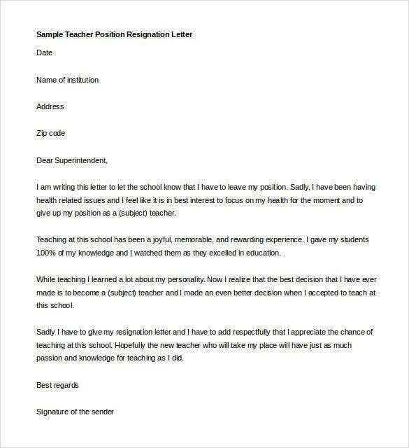 Sample Teacher Position Resignation Letter