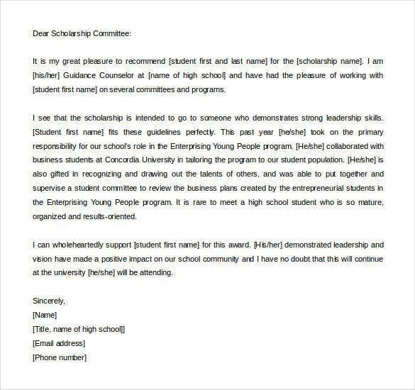 letter of recommendation for school counselor