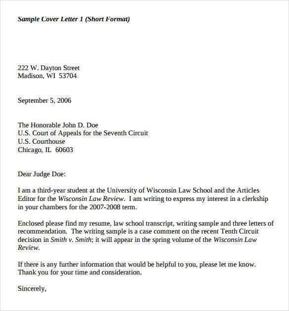 short cover letter format - Sample Cover Letter Law