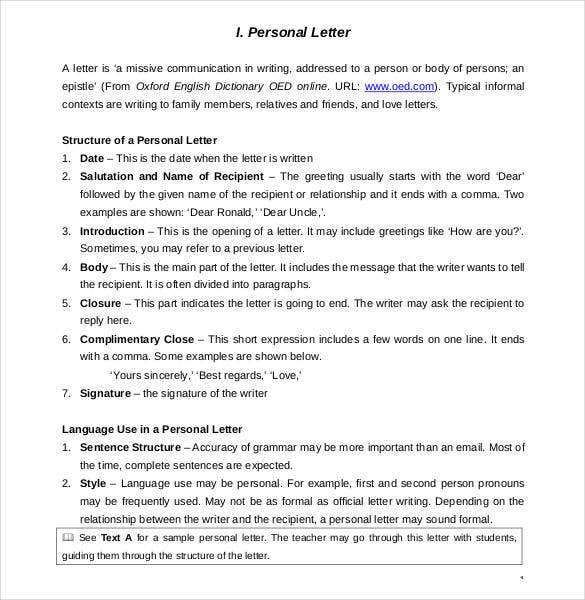 Letter Writing Format Salutation. Short Personal Letter Sample Template  40 Free Example Format