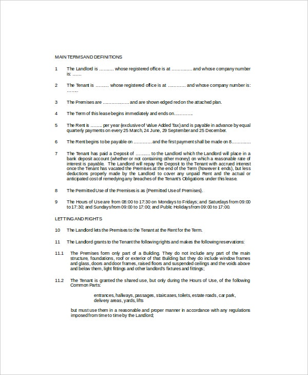 short term commercial lease template1