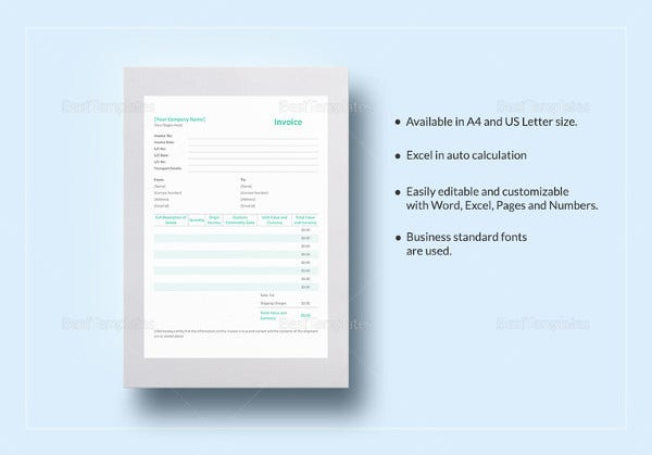 simple proforma invoice excel template