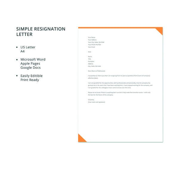 simple resignation letter template1