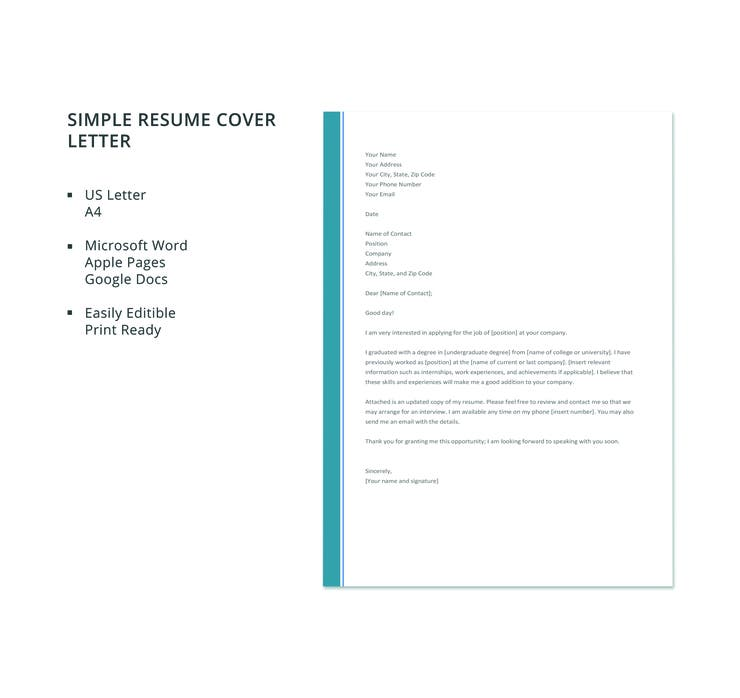 simple resume cover letter template - Microsoft Word Cover Letter Template