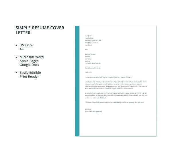 Free cover letter template 54 free word pdf documents free simple resume cover letter altavistaventures Choice Image
