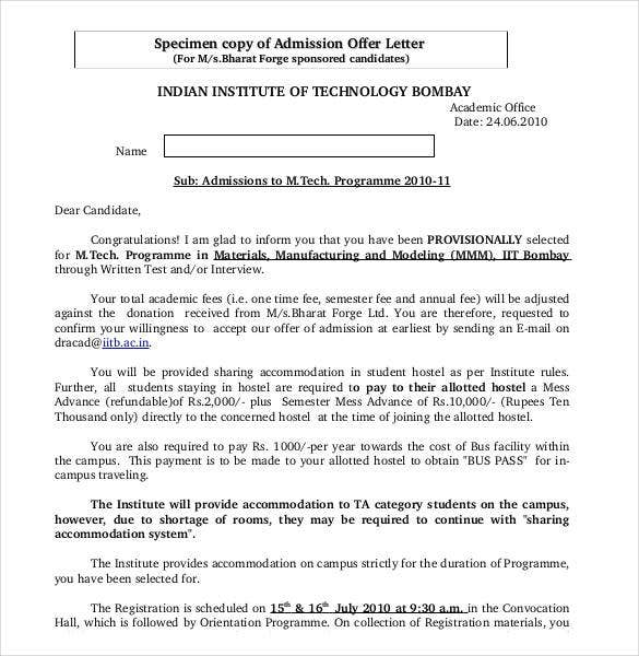 specimen-copy-of-admission-offer-letter