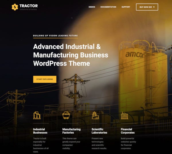 tractor industrial manufacturing wordpress theme