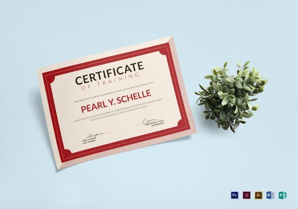 training certificate illustrator template