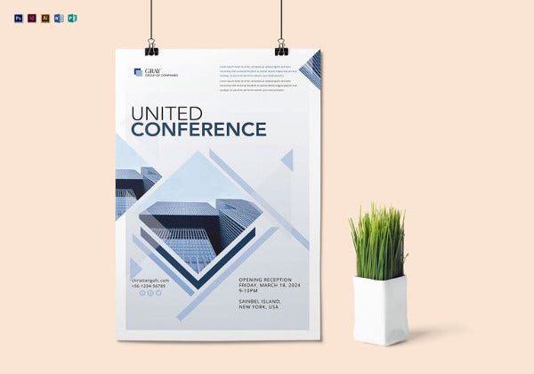 united conference poster template in psd