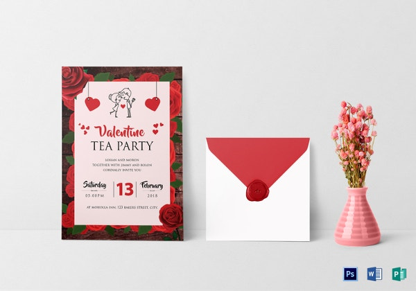 valentine tea party invitation template