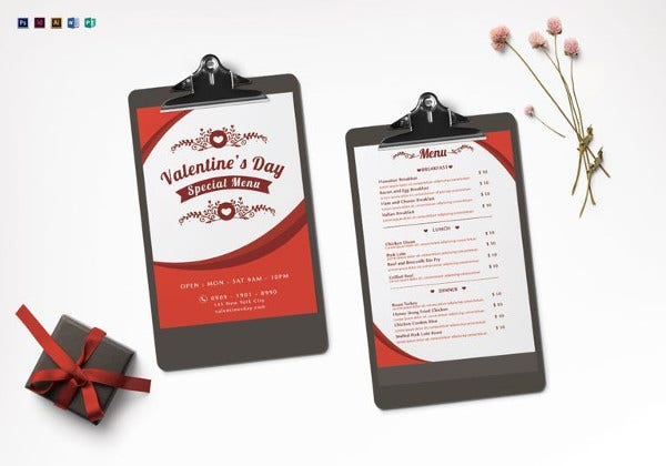 valentines menu indesign template
