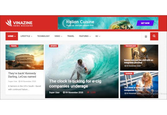 vinazine joomla news magazine template