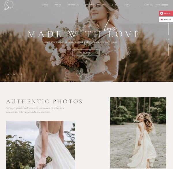 wedding photography website theme
