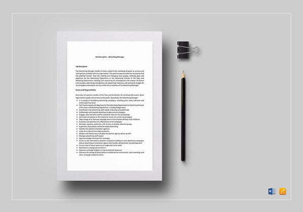 job description template  u2013 28  free word  excel  pdf