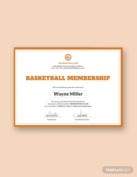 free basketball certificate