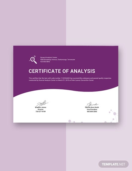 free certificate of analysis