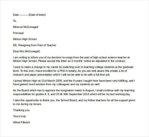 resignation-from-the-post-of-teacher Teacher Resignation Letter Template Free on simple sample, sample teacher, personal reasons, two weeks notice, for kappa,
